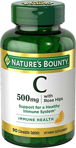 Nature's Bounty Vitamin C Supplement, Supports Immune Health, 500mg, 90 Chewable Tablets, 3 Pack