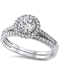Round Halo Cz Wedding Set .925 Sterling Silver Ring Sizes 4-12