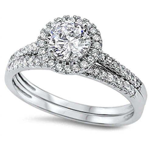 Halo Wedding Set - Round Halo Cz Wedding Set .925 Sterling Silver Ring Size 5