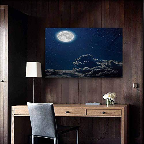 duommhome Galaxy Art Oil Paintings Moon and Stars in Magical Midnight Sky Starry Night with Clouds Milky Way Art Canvas Prints for Home Decorations 32