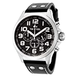 TW Steel Pilot Watch - Stainless Steel Black Dial Date 24-hour TW Steel Watch Mens - Black Leather Band 45mm Chronograph Watch TW412