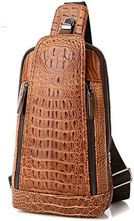 Men's Sing Bag,Leather Crocodile Pattern Cross Body Backpack Shoulder Bags Casual Chest Bag Travel Hiking Daypack