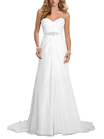 Brautkleid Lang Hochzeitskleider Damen Brautmode Chiffon Strand A