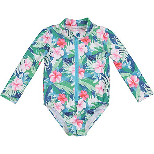Tommy Bahama Baby Girls UV Protection 1-Piece Swimsuit Bathing Suit, Tropical Floral, 24 Months (Uv Baby Swimwear)