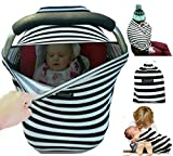 Snaozee Multi-use Nursing Cover & Baby Car Seat Canopy Best forBreastfeeding   Shopping Cart   Stroller - Premium Soft   Breathable   Stretchy   Unisex (free carry pouch)