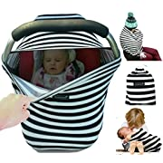 Snaozee Multi-use Nursing Cover & Baby Car Seat Canopy Best for Breastfeeding | Shopping Cart | Stroller - Premium Soft | Breathable | Stretchy | Unisex (free carry pouch)
