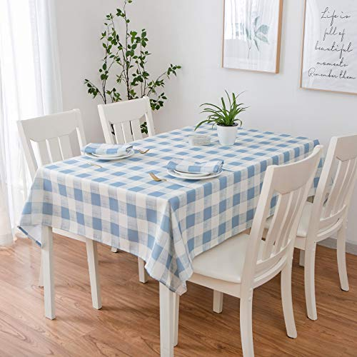 Eforcurtain 60 Inch by 102 Inch Plaid Table Cover Home Checkered Pattern Design Tablecloth Durable Fabric Plaid Table Cloth Spillproof, ()