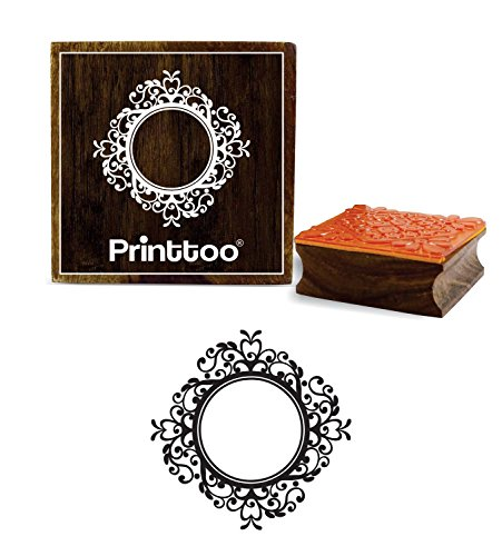Printtoo Victorian Style Round Frame Design Square Brown Wooden Rubber Stamps-2 x 2 inches ()