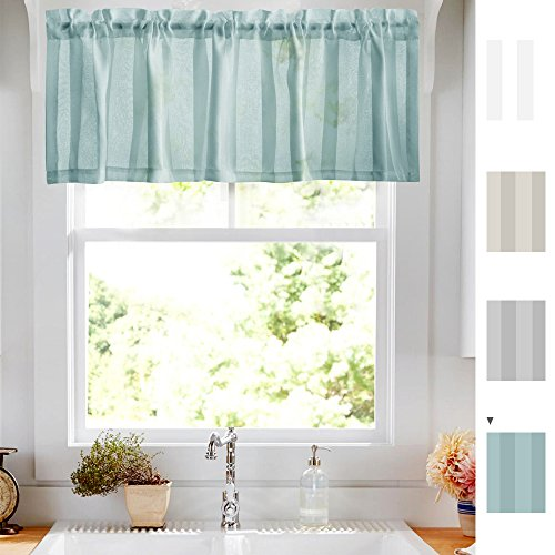 Sheer Striped Kitchen Valances for Windows Pole Pocket 1 Panel, Turquoise Blue 14