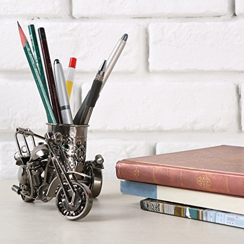 MyGift Motorcycle & Sidecar Pencil Cup, Office Desktop Pen Holder, Gunmetal Gray Photo #5