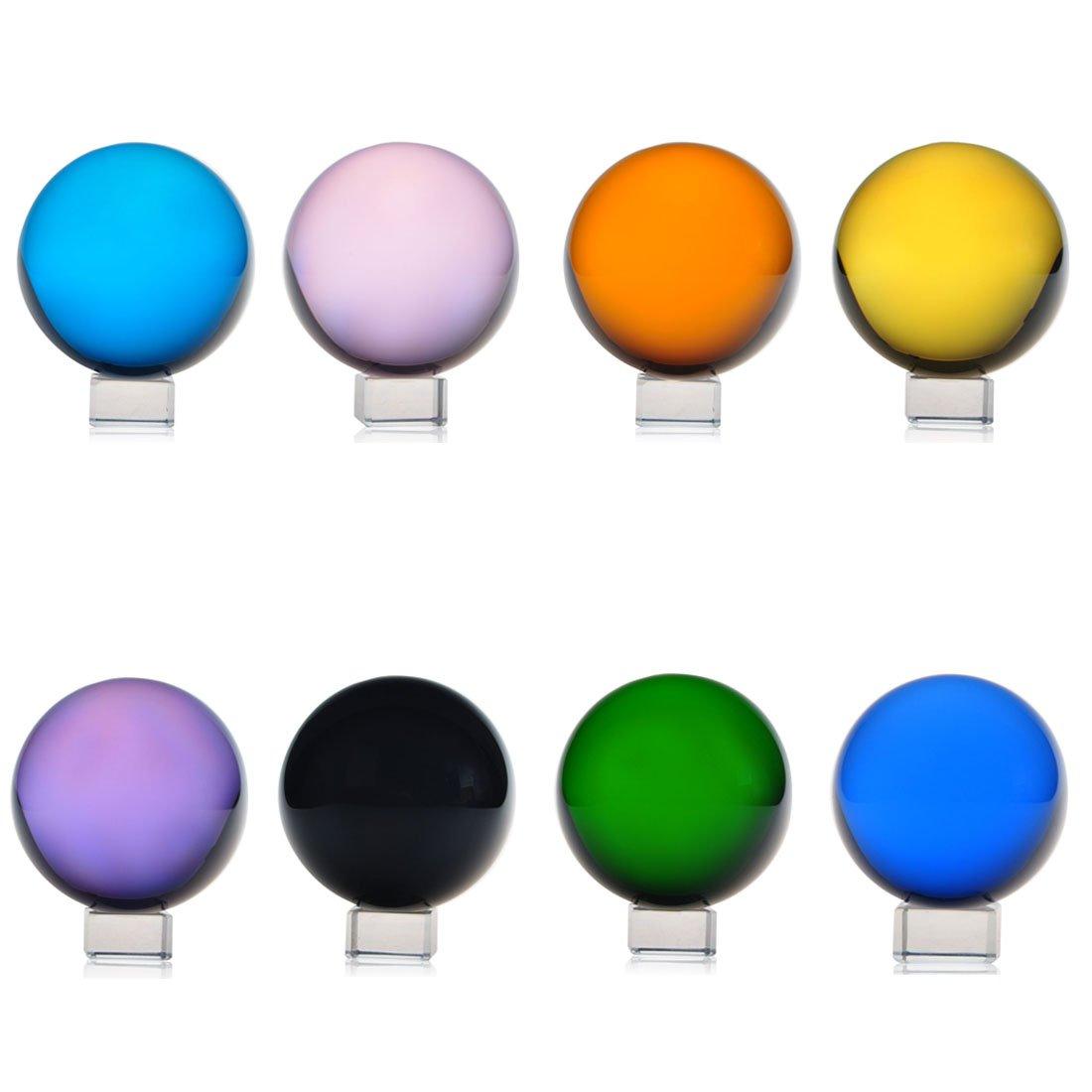 H&d Crystal Meditation Ball Globe 8pcs Free Stand