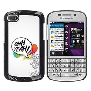 Caucho caso de Shell duro de la cubierta de accesorios de protección BY RAYDREAMMM - BlackBerry Q10 - Oh Yeah Quote Symbol Text Box Colorful