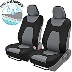 Motor Trend 3 Layer Waterproof Car Seat Covers - Modern Black/Gray Side-less Quick Install Auto Protection