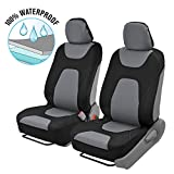 Motor Trend 3 Layer Waterproof Car Seat Covers - Modern Black/Gray Side-less Quick Install Auto Protection - OS-274-GR