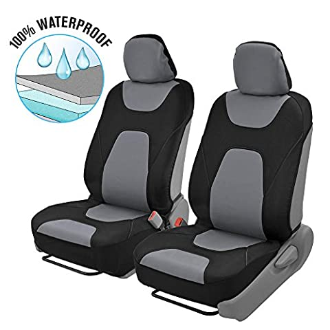 Motor Trend 3 Layer Waterproof Car Seat Covers - Modern Black/Gray Side-less Quick Install Auto (2012 Honda Fit Seat Covers)