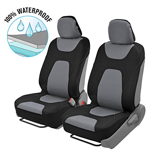 Motor Trend OS-274-GR SeatGo Pro 3 Layer Waterproof Car Seat Covers-Modern Black/Gray Side-Less Quick Install Auto Protection ()