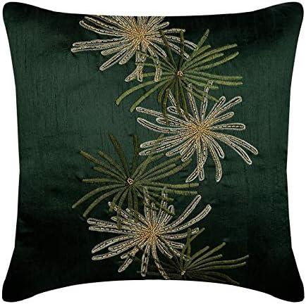 The HomeCentric Luxury Dark Green Euro Pillow Covers 26×26 inch 65×65 cm , Silk European Pillow Shams, Nature Floral, Tropical Euro Shams – Green Foliage
