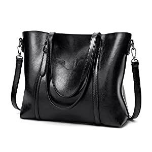 "UTO Women Tote Bag Top Handle Large Capacity 13.3"" Laptop Shoulder Purse (Black)"