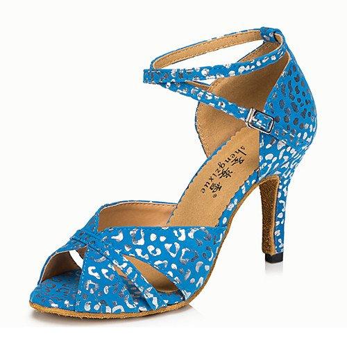 indoor in latino scarpe ballo pelle T swing da Blu salsa ginnastica Q da donna Scarpe grosso tacco sandali pratica da blu T prestazioni jazz moderne tango vSxqTI0q
