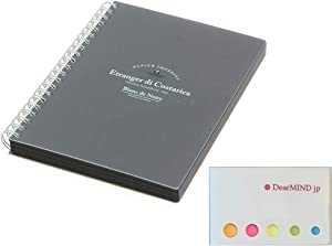 Etranger Di Costarica B6 Double Ring Notebook Black Paper Plain 100 Sheets BK-27-01 Blanc de Noirs series, with Sticky Notes, Value Set for Bullet Journal