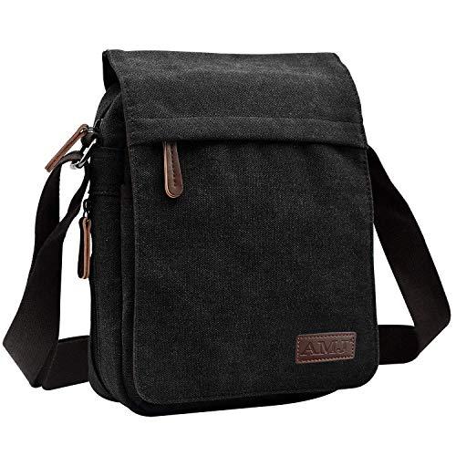 AMJ Canvas Messenger Bag, Sling Bag Crossbody Shoulder Bags for Travel Work Business Men Women, Black