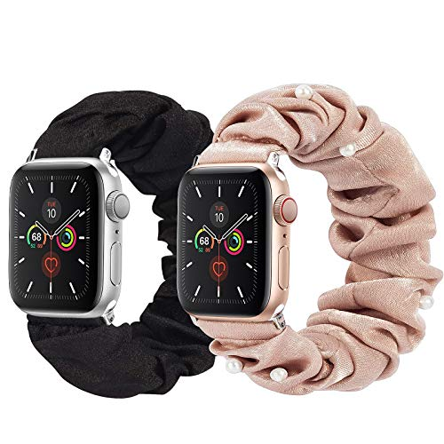 Lobkin Compatible with Apple Watch Bands Scrunchies 38mm 40mm 42mm 44mm Soft Elastic Watch Bands for Women Stretchy Printed Fabric Scrunchy Bands for Apple iWatch Series SE 6 5 4 3 2 1