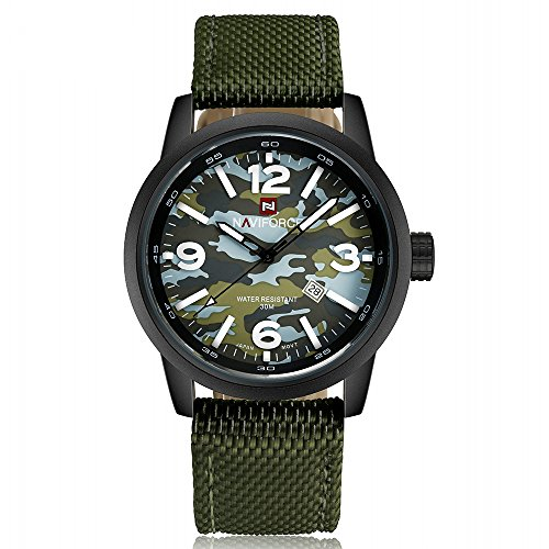 NAVIFORCE Men's Army Military Camouflage Date Waterproof Quartz Sports Watch with GORBEN Box