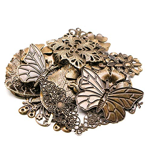 (JETEHO 100g Mixed Vintage Antique Bronze Alloy Charms Pendants Filigree Jewelry Connectors Findings Supplies for Jewelry Making)