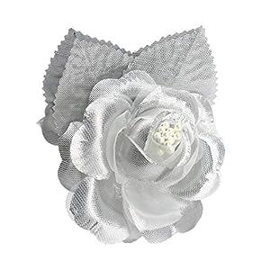 12 Silk Roses Wedding Favor Flower Corsage Pick - Silver 95