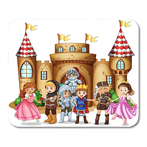 Emvency Mouse Pads Princess White King Characters from Fairytales and Castle Children Boy Mouse Pad 9.5