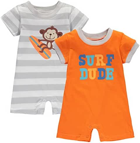 Wan-A-Beez Baby Boys' 2 Pack Graphic Short Sleeve Romper