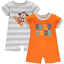 Wan-A-Beez Baby Boys' and Baby Girls' 2 Pack Graphic Short Sleeve Romper
