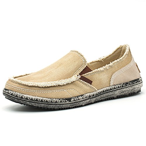 BEFAiR Men's Slip on Shoes Canvas Loafer Vintage Flat Boat Shoes(10.5 D(M) US, Khaki)