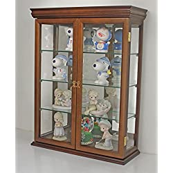 "DisplayGifts SOLID WOOD Tuscan Style Wall Curio Cabinet, Stand or Wall Mount, 19.75"" W X 26"" H X 7"" D, Walnut Finish"