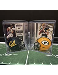 Aaron Rodgers College and Pro Helmet Shadowbox w/card Set of 2