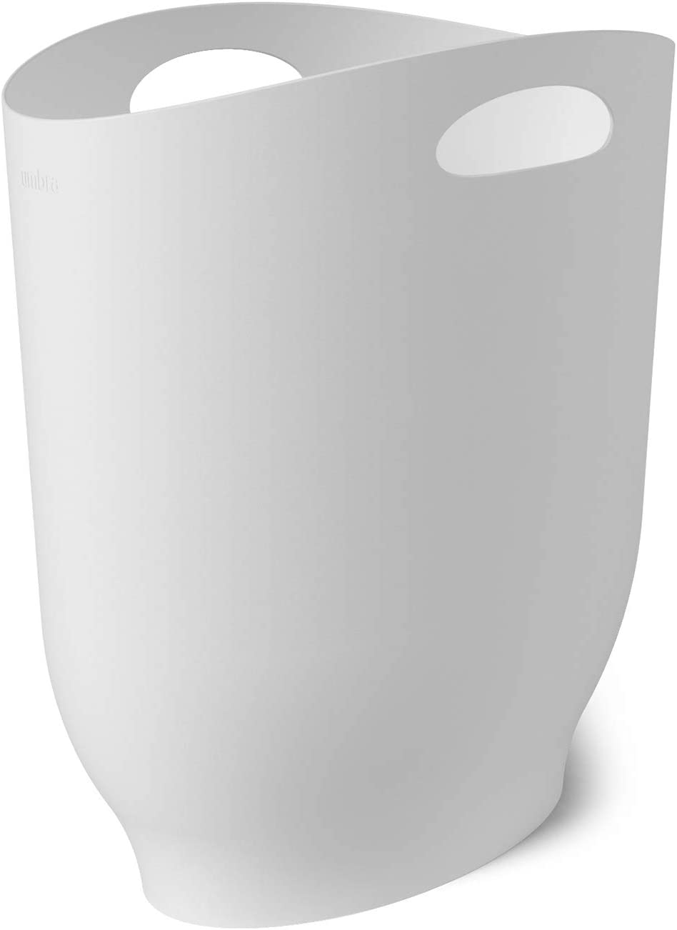 Umbra Harlo, 2.4 Gallon, White Sleek & Stylish Bathroom Trash Can, Small Garbage Bin Wastebasket for Narrow Spaces at Home or Office, 2-1/2 Gallon Capacity, 2.3