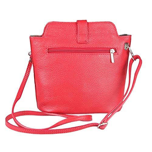 Para Cuero Bolso Mujer De Italy Cm Rojo Cruzados bxhxt 19x21x9 Made CIxBqXWwPP