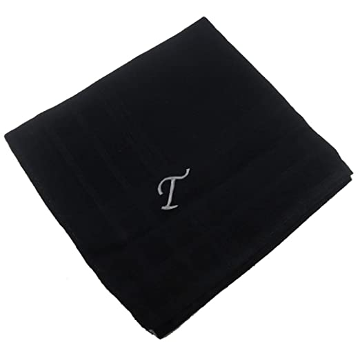 OWM Handkerchief Cotton Embroidered Custom Initial Monogram Handkerchief Men  (S, Black)