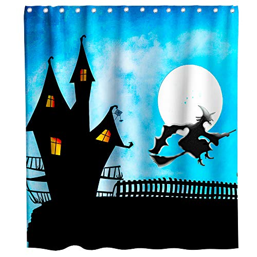 Lifeasy Cartoon Old Castle Witch Shower Curtain Cartoon Theme Witch Rode a Broom Fabric Bath Curtain Design Bathroom Accessories with Hooks Waterproof Washable 72 x 72 inches Black Blue]()