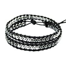 jennysun2010 Natural Gemstones Beads One Two Three Four Five Wrap Leather Button Closure Bracelet Healing
