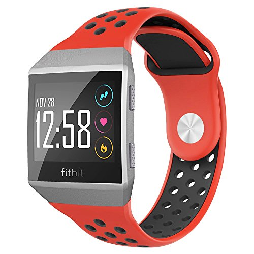 NO1seller Top Bands Compatible for Fitbit Ionic Small Large, Soft Silicone Sport Strap Accessories with Ventilation Holes Replacement Wristband for Fitbit Ionic Smartwatch Women Men