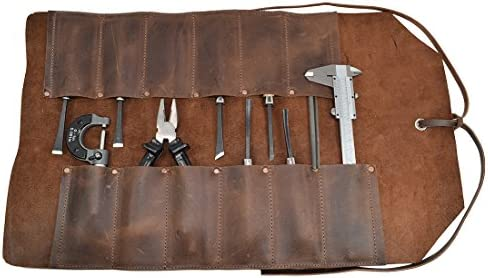Hide Drink, Leather Big Tool Roll Up Bag 12 Slots , Portable Carry On Pouch, Workshop Storage, Woodworking Tools Organizer, Vintage Style, Handmade Includes 101 Year Warranty Bourbon Brown