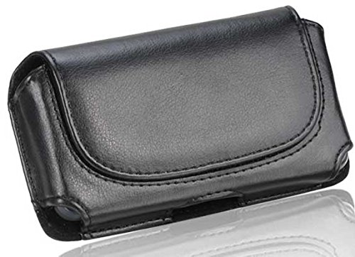 LG Chocolate Touch Black Leather Case Pouch With Rounded Flap Hidden Magnetic Closure Built In Belt Clip And Belt (Lg Chocolate Leather)
