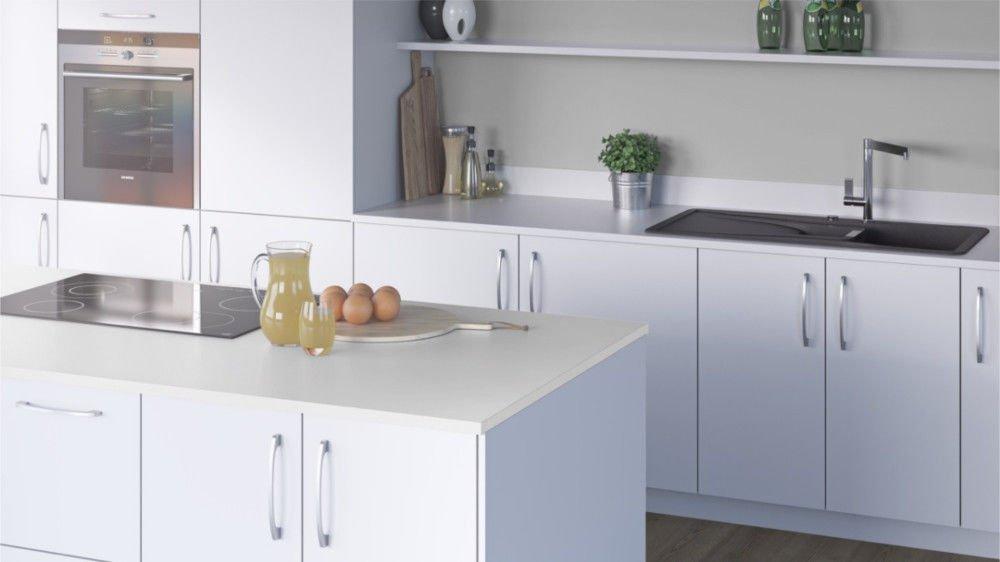 Egger Premium White Effect Square Edge Laminate Kitchen Worktops - 25mm Offcut Bathroom Work Surface Breakfast Bar - 1m x 650mm x 25mm Worktop