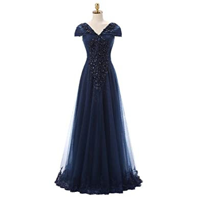 OYISHA Womens Cap Sleeve Lace Beaded A-Line Party Gown Formal Evening Dress EP5 Navy