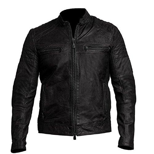 CHICAGO-FASHIONS Vintage Cafe Racer Black Biker Leather ()