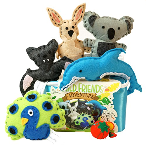 Four Seasons Crafting Kids Sewing Kit and Animal Crafts - Fun DIY Kid Craft and Sew Kits for Girls and Boys 120 Piece - Sewing Girl