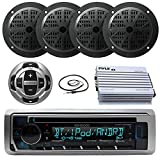 Kenwood Marine Boat CD/MP3 iPhone Bluetooth Radio Player Bundle with Pyle 400W 4-Channel Amplifier