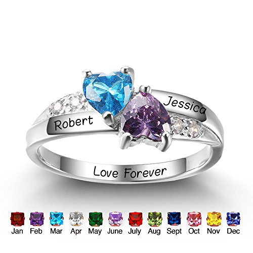 Personalized Simulated Birthstone Promise Names Ring for Girlfriend Cheap Engagement Heart Rings for Her (8)