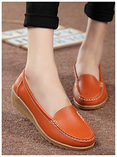 Orange En Vachette Pour Mocassin Chaussures Femmes Confortables De Newzcers Cuir qYnzXRxgE
